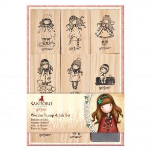 Wooden Stamp and Ink Set (9pcs) - Santoro