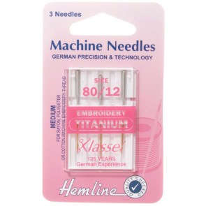 Embroidery Machine Needles: Titanium 80/12