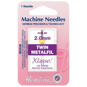 Metalfil Twin Machine Needles: 80/12 - 2mm