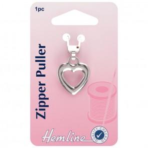 Zipper Puller: Heart  - Silver