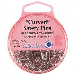 Curved Safety Pins: Nickel - 27mm - 100pcs