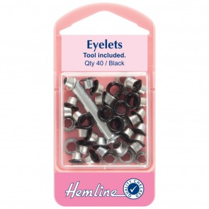 Eyelets with Tool: Black - 5.5mm - 40pcs