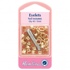 Eyelets with Tool: Gold - 5.5mm - 40pcs
