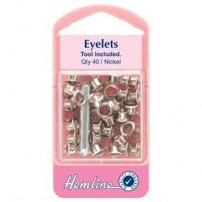 Eyelets with Tool: Nickel - 5.5mm - 40pcs
