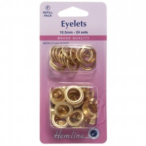 Eyelets Refill Pack: Gold/Brass - 10.5mm (F)