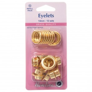 Eyelets Refill Pack: Gold/Brass - 14mm (G)
