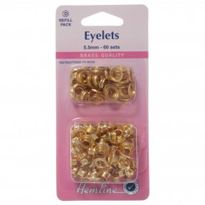 Eyelets Refill Pack: Gold/Brass - 5.5mm (D)
