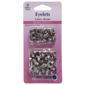 Eyelets Refill Pack: Nickel/Silver - 5.5mm (D)