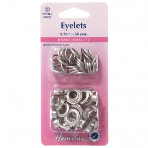 Eyelets Refill Pack: Nickel/Silver- 8.7mm (E)