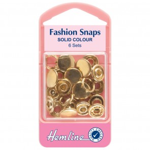 Fashion Snaps: Gold - Solid Top, 11mm - 6 Sets