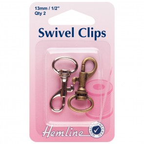 Swivel Clip: Bronze & Metal: 13mm: 2pk