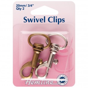 Swivel Clip: Bronze & Metal: 20mm: 2pk