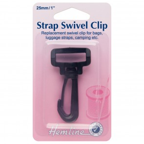 Swivel Clip: Black: 25mm: 1pk