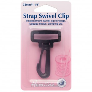 Swivel Clip: Black: 32mm: 2pk