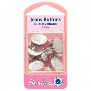 Jean Buttons: Nickel - 16mm