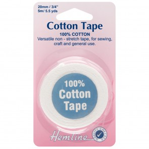 Cotton Tape: White - 5m x 20mm