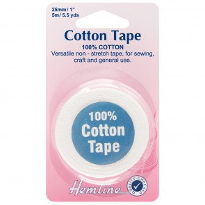 Cotton Tape: White - 5m x 25mm