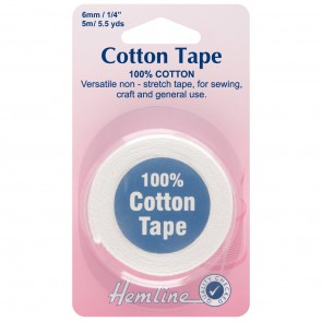 Cotton Tape: White - 5m x 6mm