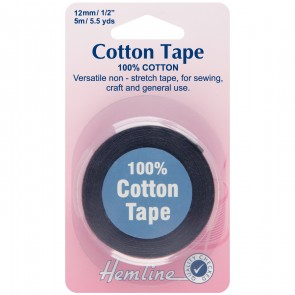 Cotton Tape: Black - 5m x 12mm