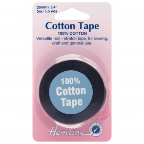 Cotton Tape: Black - 5m x 20mm