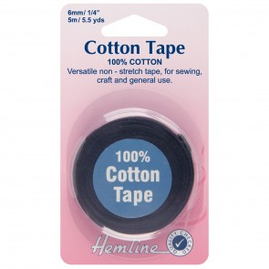 Cotton Tape: Black - 5m x 6mm