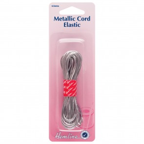 Metallic Cord Elastic: Silver - 4.5m x 1.3mm