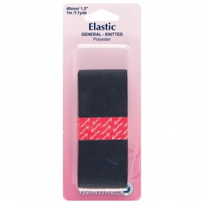 General Purpose Knitted Elastic: Black - 1m x 40mm