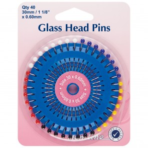 Glass Head Pins: Nickel - 30mm, 40pcs