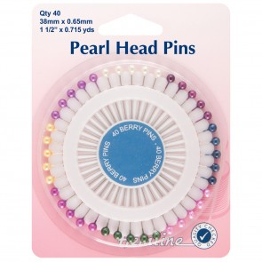 Assorted Pearl Heads Pins: Nickel - 38mm, 40pcs
