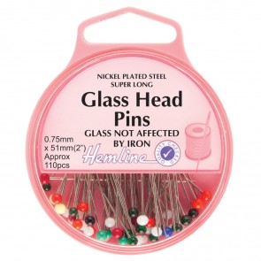 Glass Head Pins: Nickel - 51mm, 110pcs