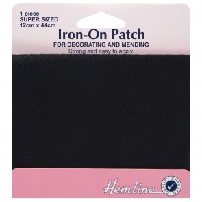 Iron-on Repair Fabric: Black - 12 x 44cm