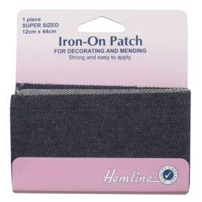 Iron-on Repair Fabric: Dark Denim - 12 x 44cm