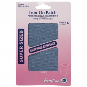 Iron-on Repair Fabric: Light Denim - 12 x 44cm