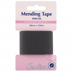 Iron-On Mending Tape: Dark Grey - 100cm x 38mm