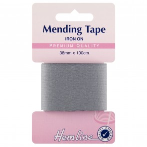 Iron-On Mending Tape: Mid Grey - 100cm x 38mm