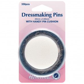 Dressmaker Pins & Foam Pincushion: 25mm, 350pcs