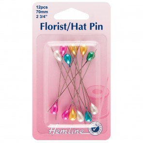 Multi-Coloured Florist/Hat Pins: 70mm, 12pcs