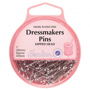 Dressmakers Dipped Head Pins: Nickel - 26mm, 420pc