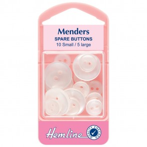 Menders: Spare Buttons: White - 15pcs