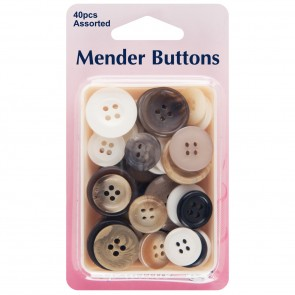 Mender Buttons: Assorted Colours - 40pcs