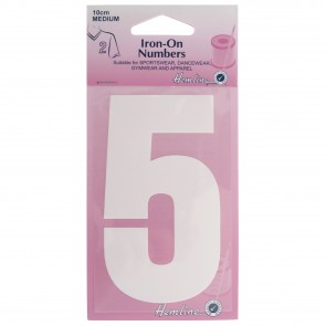 Iron-On Number: 10cm: White: 5