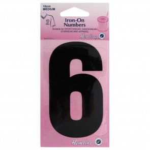 Iron-On Number: 10cm: Black: 6
