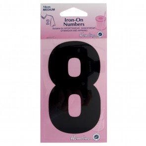 Iron-On Number: 10cm: Black: 8