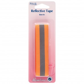 Reflective Sew-In Tape: Orange - 2m x 25mm