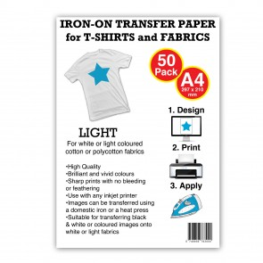 T-Shirt Transfer Paper A4 Light Bulk (50 Pack)