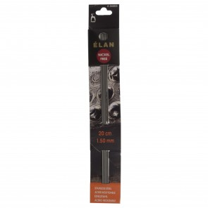 Elan: Knitting Pins: Stainless Steel: Double-Ended (Set of 5): 20cm x 1.50mm