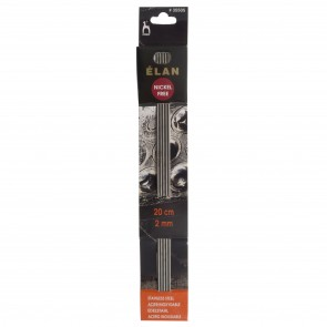 Elan: Knitting Pins: Stainless Steel: Double-Ended (Set of 5): 20cm x 2.00mm