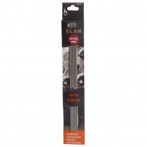 Elan: Knitting Pins: Stainless Steel: Double-Ended (Set of 5): 20cm x 2.50mm