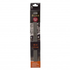 Elan: Knitting Pins: Stainless Steel: Double-Ended (Set of 5): 20cm x 2.75mm