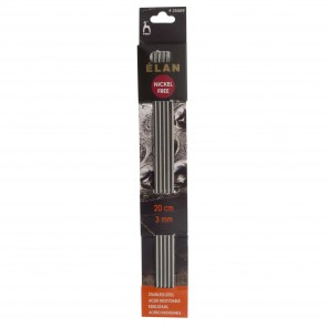 Elan: Knitting Pins: Stainless Steel: Double-Ended (Set of 5): 20cm x 3.00mm